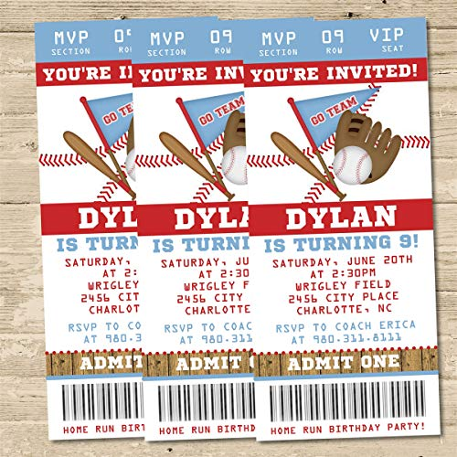 Baseball Birthday Party Ticket Invitations - Baseball Birthday