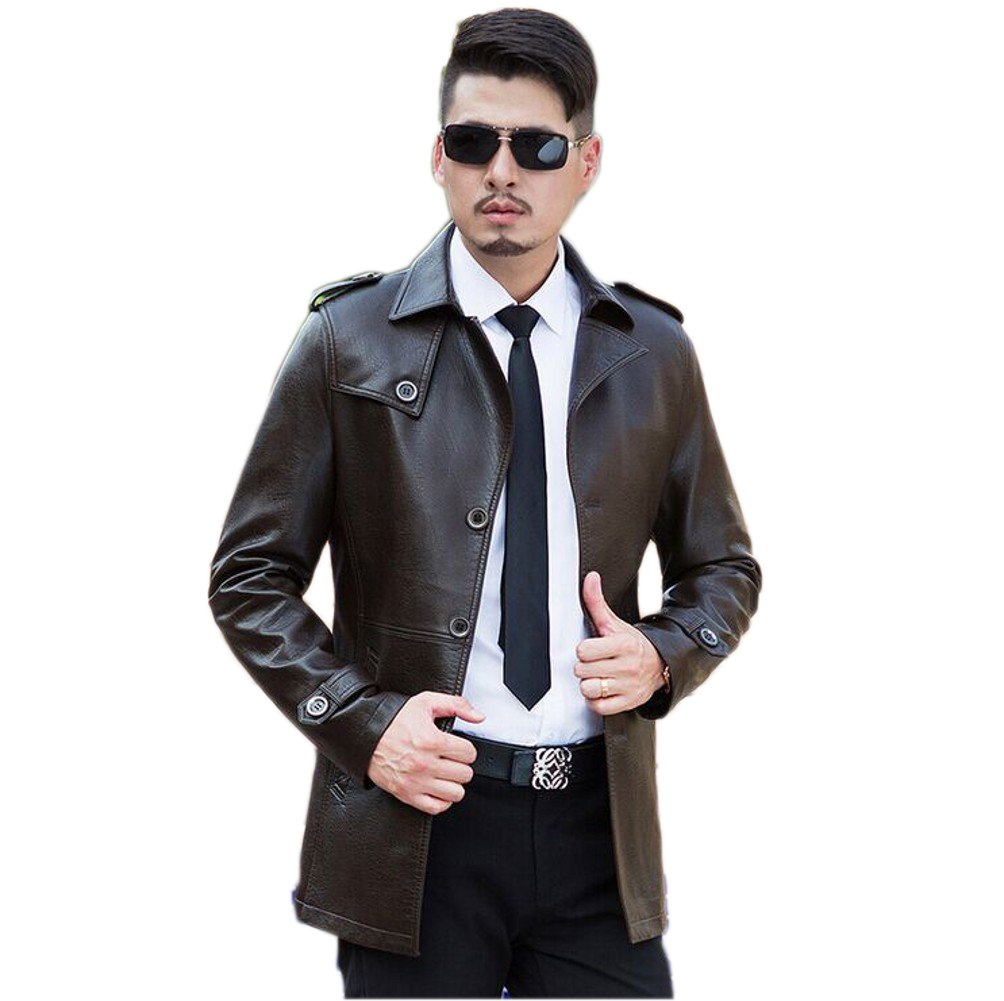 Love Dress Slim Fit Mens Leather Jacket Winter and Spring Warm Coats Brown XXL