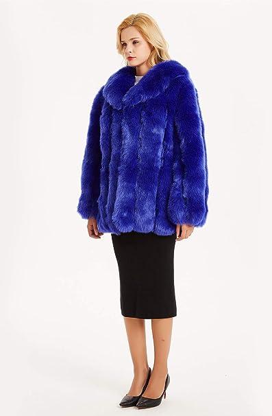 FOLOBE damski zimowy ciepły faux płaszcz futrzany: Odzież