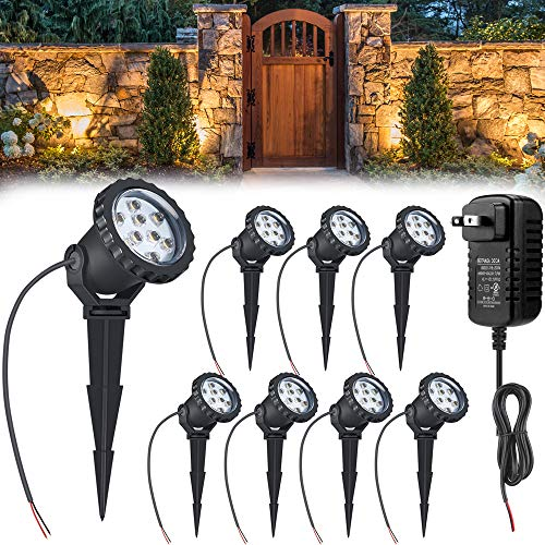 24W LED landscape light With 12V 2A UL Transformer, Outdoor Landscape Spotlights with Spike Stand Low Voltage landscape lighting, IP66 Waterproof Garden Yard Pathway Lights Warm White 3500K, 8pack