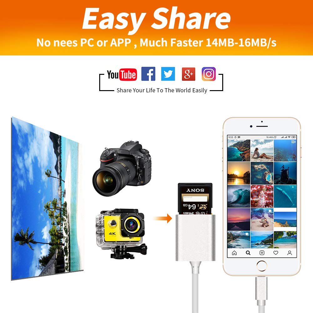 Rocketek TF /& SD Card Dual Slot Camera Reader Adapter Plug and Play USB OTG Adapter Cable Compatible with iPhone xs//x//8//7Plus//7s//6//5//iPad Pro//Mini//Air Aluminum 2 in 1 Lighting Card Reader