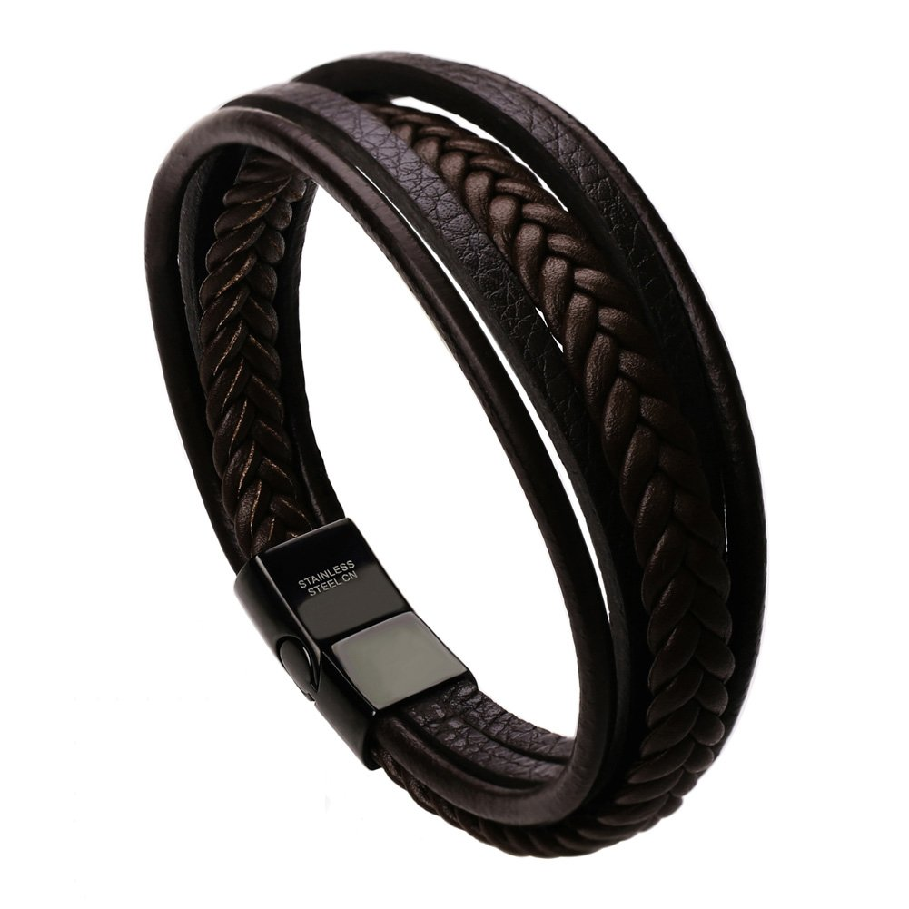 murtoo Leather Bracelet Magnetic-Clasp Cowhide Braided Multi-Layer Wrap Mens Bracelet, 7.5 inch (Brown)