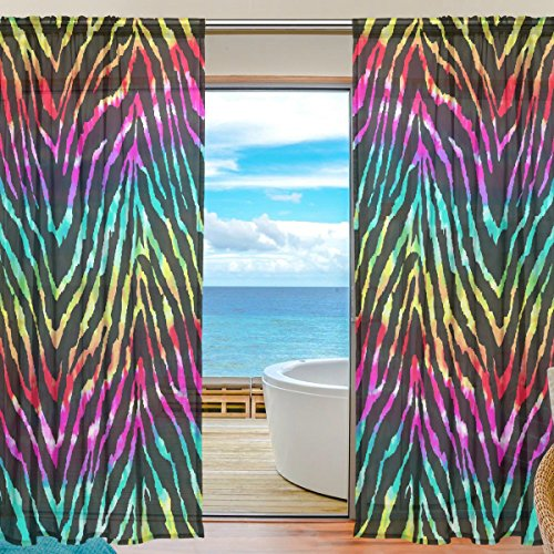SEULIFE Window Sheer Curtain Zebra Animal Print Rainbow Voile Curtain Drapes for Door Kitchen Living Room Bedroom 55x78 inches 2 Panels by SEULIFE