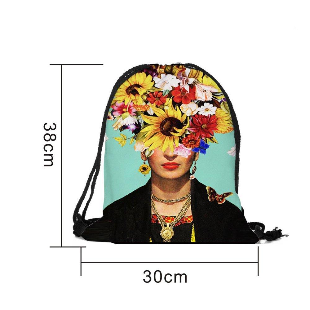 Dunbasi Frida Kahlo - Mochila con cordón para Mujer y niña, Bolsa de Gimnasio para natación, Bolsa de Escuela, Mochila de Viaje