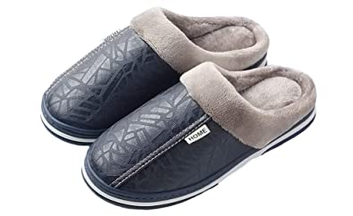 a0071abef2746 Yooeen Mens Womens Winter Slippers Waterproof Fur Lined Slippers Snow Warm  House Shoes Slip on Leather