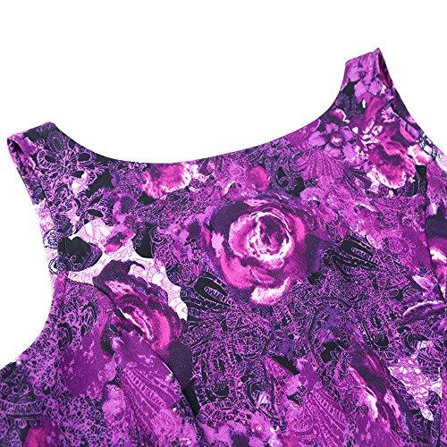 Les Années 1950 Femmes Owin Balançoire Vintage Rockabilly Floral Robe De Cocktail De Soirée Bal Avec Motif Papillon Doux Violet