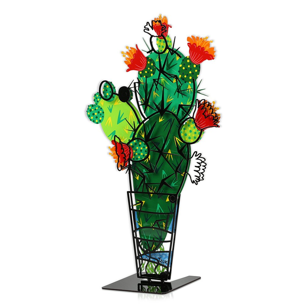 Christmas Gift -TZUKI ART SABRA CACTUS PLANT IN A POT, Colorful Trendy Cactus Decor Metal Sculpture with a 3D Effect, Hand Painted, Laser Cut, and Galvanized, Sold Worldwide