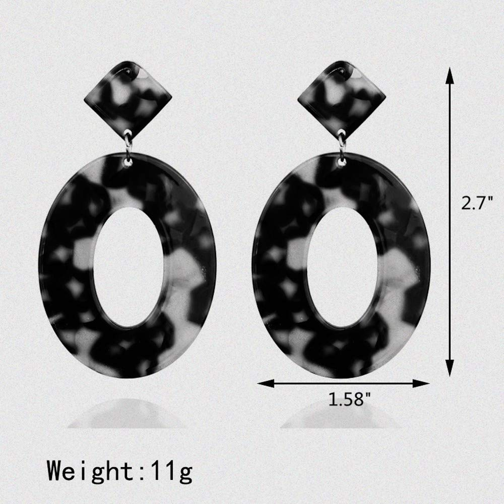 LuoNai Bohemian Acrylic Hoop Earrings for Women or Girls