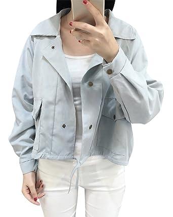 Damen Kordelzug Kurze Jeansjacke Einfarbig Lange ÄRmel Loose BeiläUfige  Outwear  Amazon.de  Bekleidung dfe9fc07a0