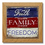 Wood Framed Printed Stone Trivet - 7.25'' Square - Faith Family Freedom