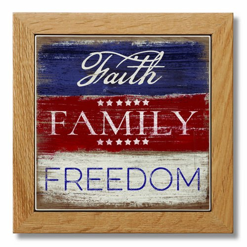 Wood Framed Printed Stone Trivet - 7.25'' Square - Faith Family Freedom by Highland Home