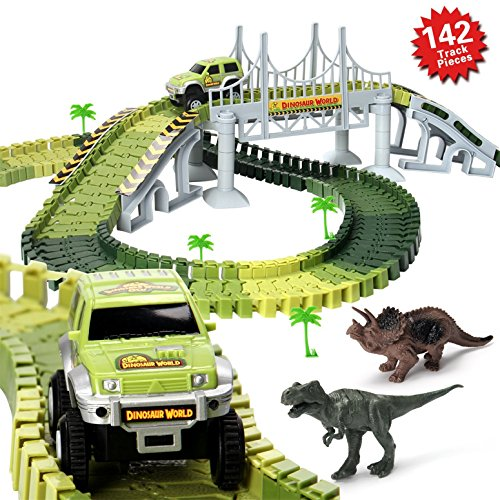HOMOFY Slot Car Race Track Sets Dinosaur Toys Jurassic World with 142 Pieces Flexible Tracks 2 Dinosaurs,1 Military Vehicles,4 Trees,2 Slopes,1 Double-door and 1 Hanging Bridge for Childrens Gift