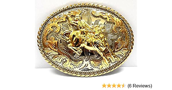 BIG WESTERN TEXAS STATE COLOR FLAG GOLD AND SILVER RODEO COWBOY BELT BUCKLE