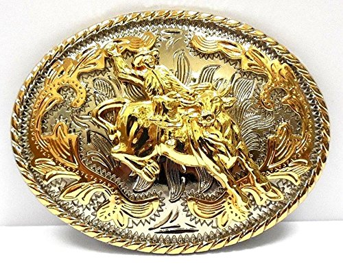 Big Belt Buckle Classic Western Cowboy Style Bull Rider Oval Gold -