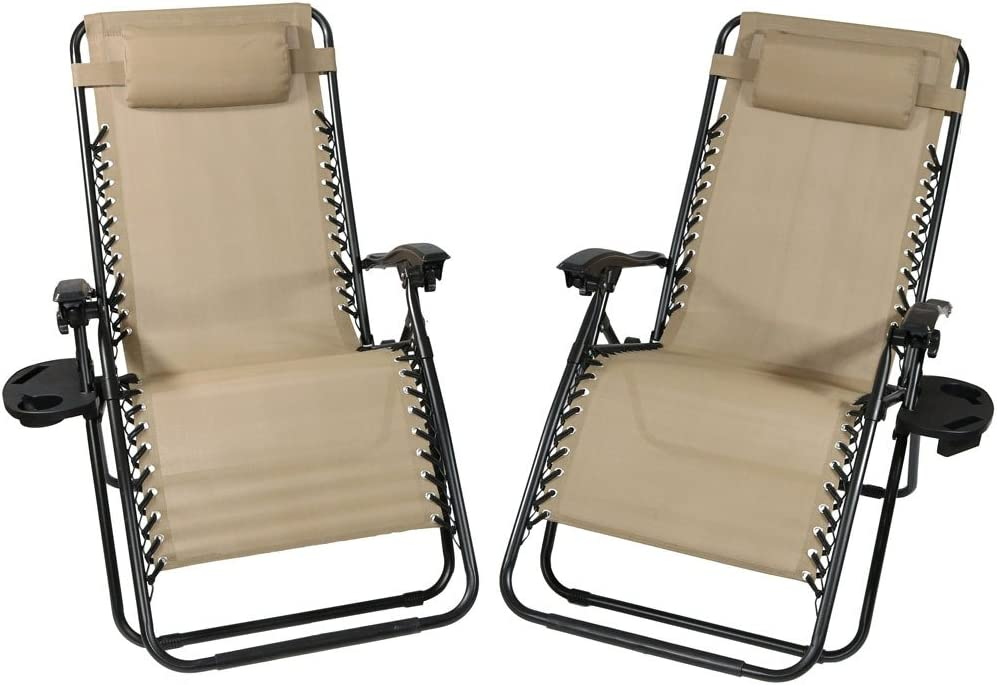 Sunnydaze Outdoor XL Zero Gravity Lounge Chair with Pillow and Cup Holder, Folding Patio Lawn Recliner, Khaki, Set of 2