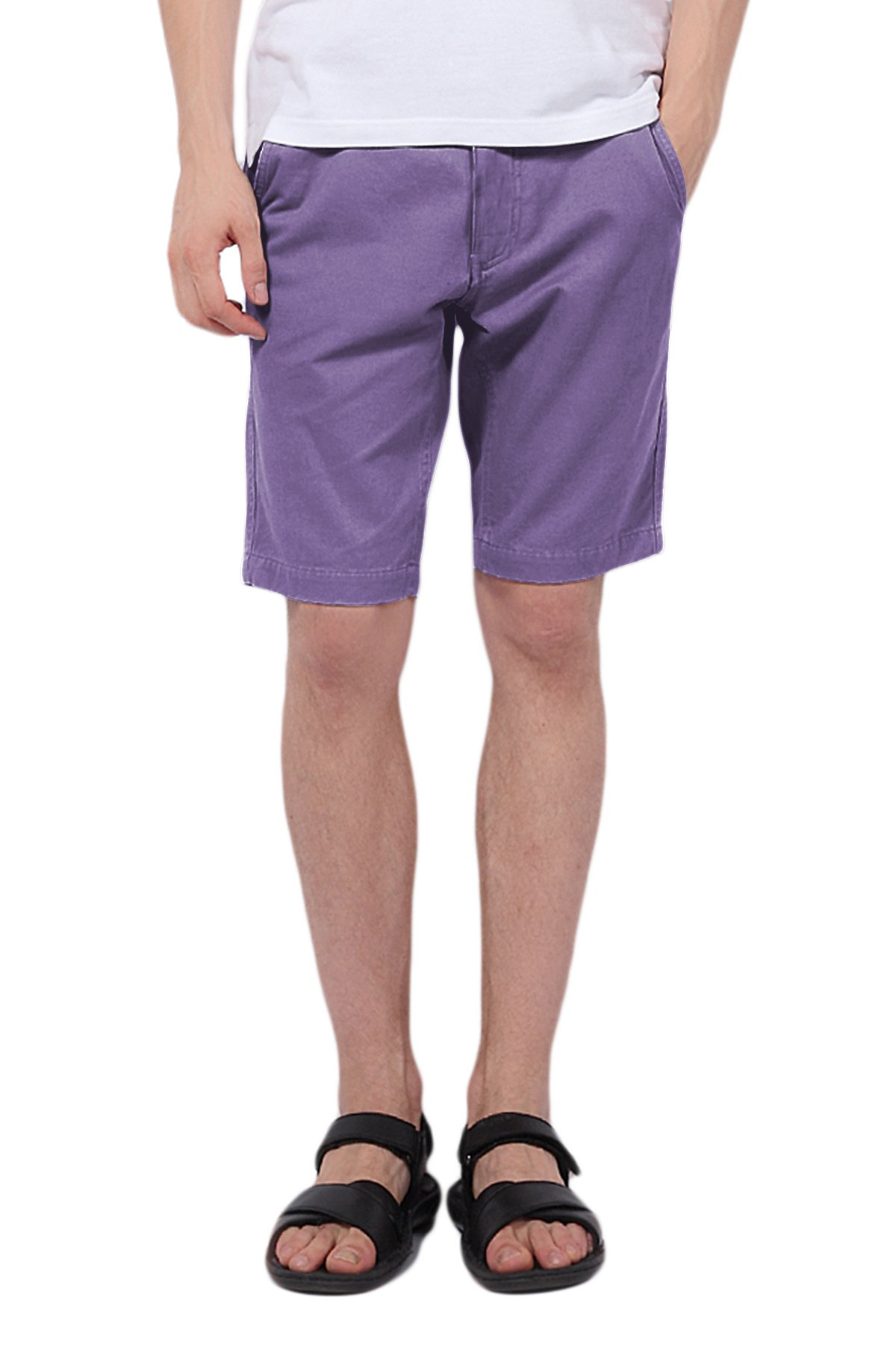 Pau1Hami1ton PH-01 Men's 10'' Inseam Chino Shorts Slim Fit Flat Front Peached Twill Casual Pants(36 Purple)