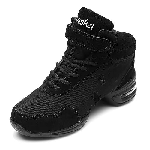 e43d34ee1 HIPPOSEUS Men and Women's Black Canvas Boost Dance Sneaker/Modern Jazz Soft  Canvas Sport Sneaker