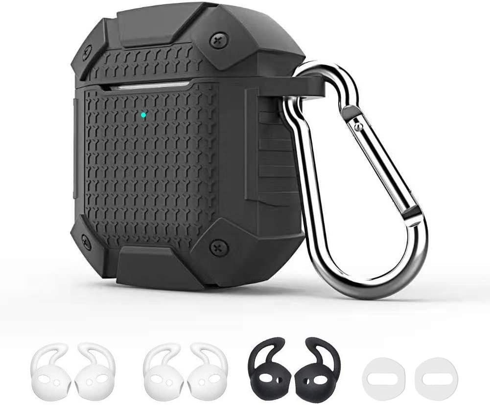 Airpods Case Dark GMYLE Silicone Luxury Heavy Duty Armor Defender Protective Shockproof Wireless Charging Airpod Cover Skin with Keychain Accessory kit Set Compatible for Apple AirPods 1 /& 2