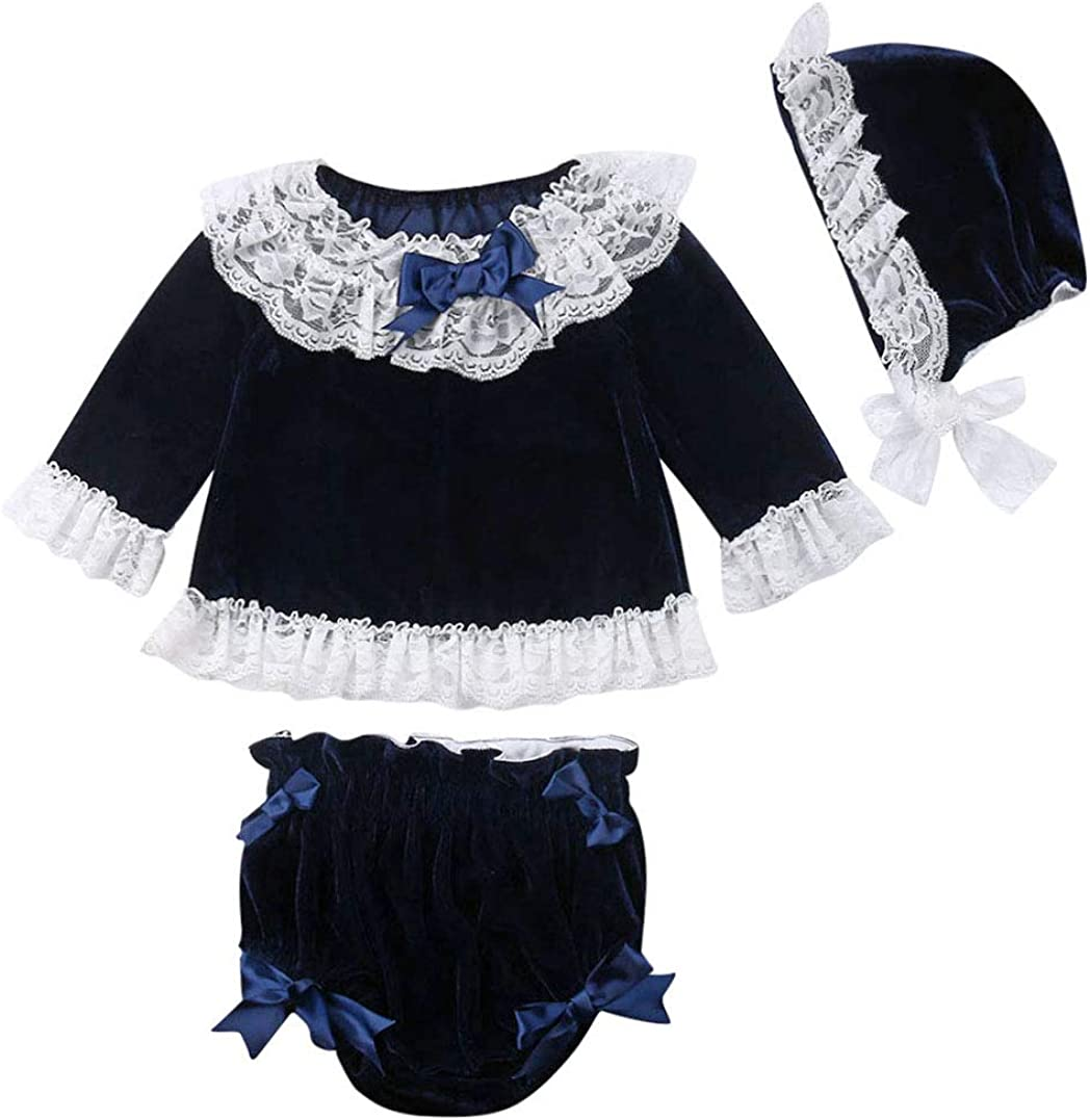 Baby Girls 3pcs Outfits Long Sleeve Ruffle Top Velvet Bow Shorts Lace Hat Toddler Clothes