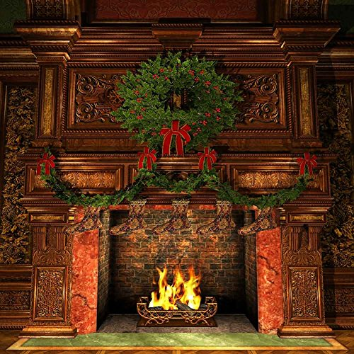 GladsBuy Christmas Fireplace 10' x 10' Digital Printed Photography Backdrop Christmas Theme Background YHA-129 by GladsBuy