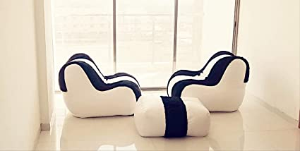Amazon.com: Lounger Bean Bag Sofa Bean Bag White and Black ...