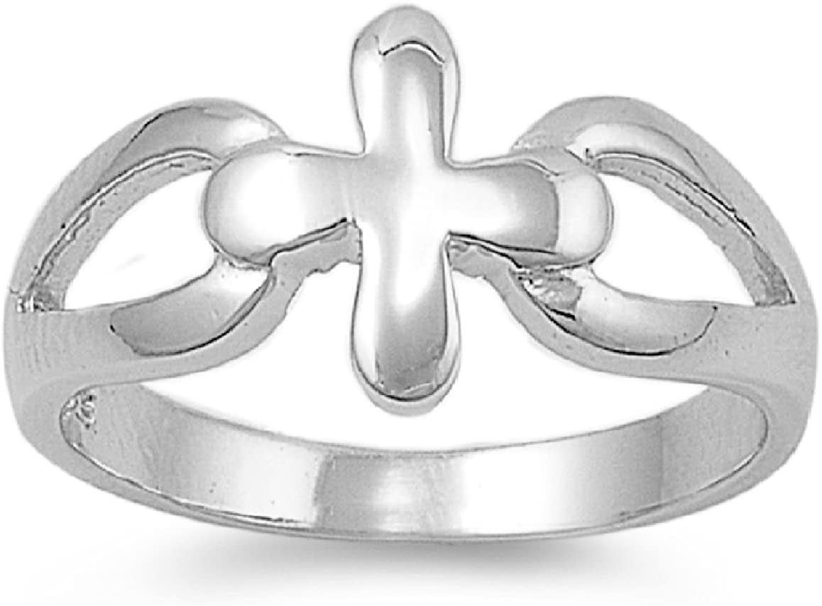 925 Sterling Silver Connecting Plain Cross Ring