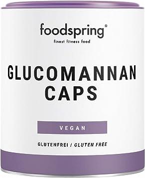 foodspring Glucomannan Caps, 120 cápsulas, Suplemento vegetal que contribuye a la pérdida de peso* con fibra alimentaria soluble y cápsulas 100% ...