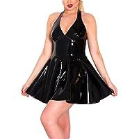 Ansenesna Reizwäsche Damen Erotik Leder Push Up Mini Kleid Versuchung Babydoll Frauen V Ausschnitt Neckholder Leidenschaft Kostüme