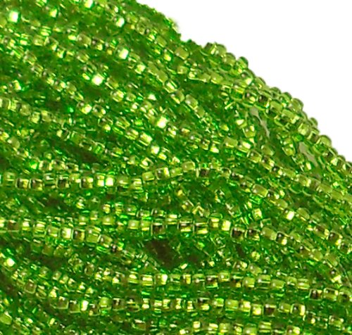 Green Silver Beads - Czech 11/0 Glass Seed Beads (4)(6 String Hanks) Which Is 24 18 Strands Preciosa Jablonex (Silver Lined Light Green)