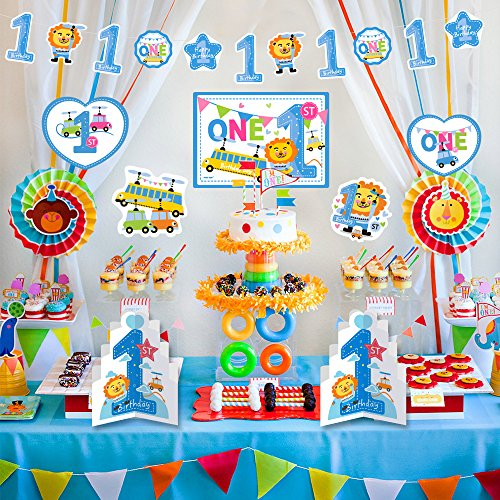 1st Birthday Boy Decorations Kit - Blue 1st lion and Number One Star Banner - Large Animal Lion, Toy card stock cutouts - Multi Colored, Blue, (1st Birthday Boy Decorations)