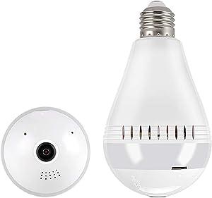 Miebul Light Bulb Camera, Dome Surveillance Camera 1080P 2.4GHz WiFi 360 Degree Wireless Security IP Panoramic, with IR Motion Detection, Night Vision, Alarm