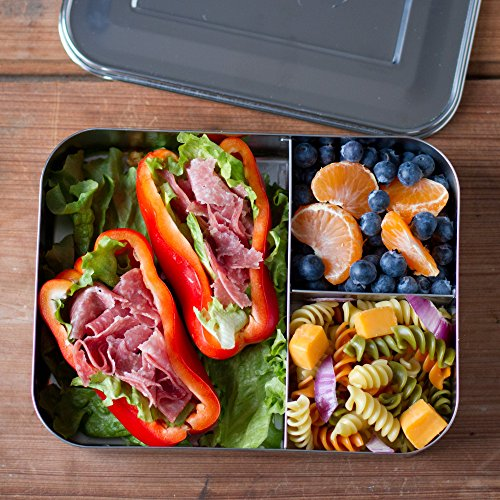 lunchbots bento trio large stainless steel food container three section design holds sandwich. Black Bedroom Furniture Sets. Home Design Ideas