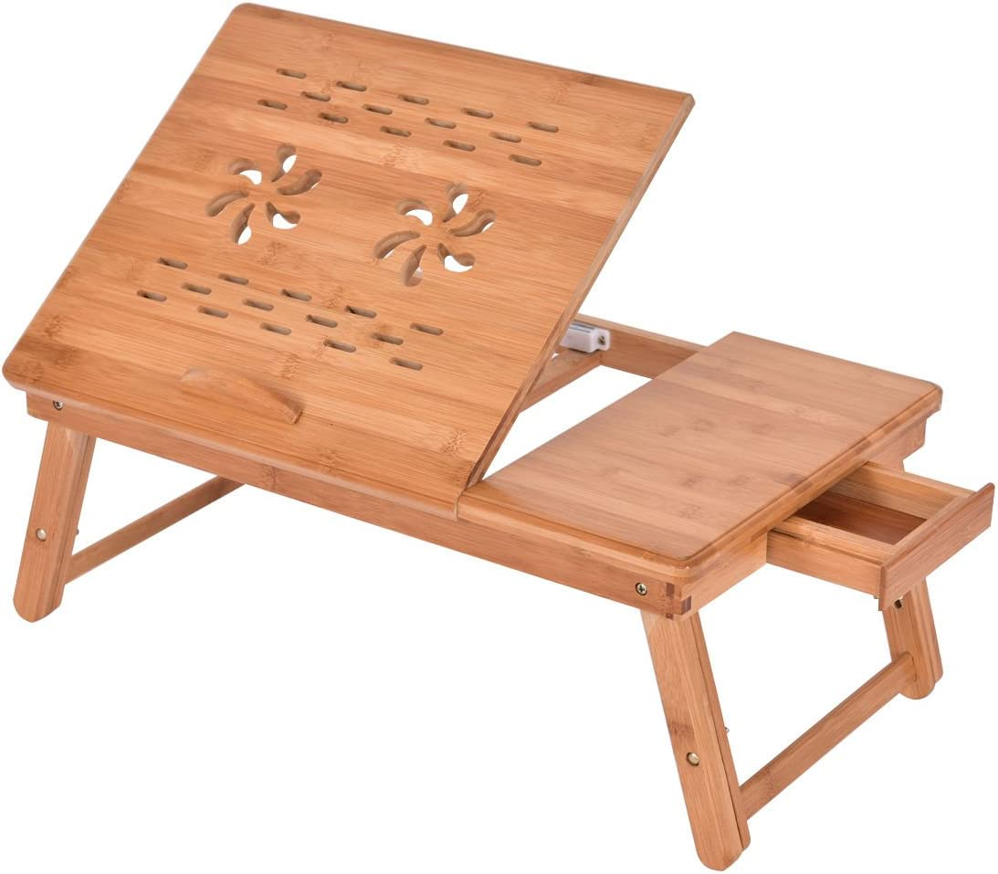 Adjustable Bamboo Folding Laptop Computer Notebook Table Bed Desk Bed Tray Stand U.S. Stock