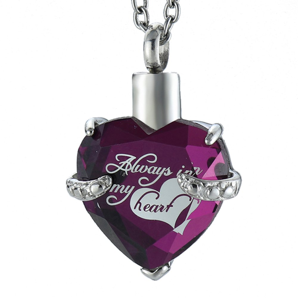 Tammy Jewelry Purple Always in My Heart Glass Heart Birthstone Urn Necklace for Ashes Cremation Pendant +Snake Chain