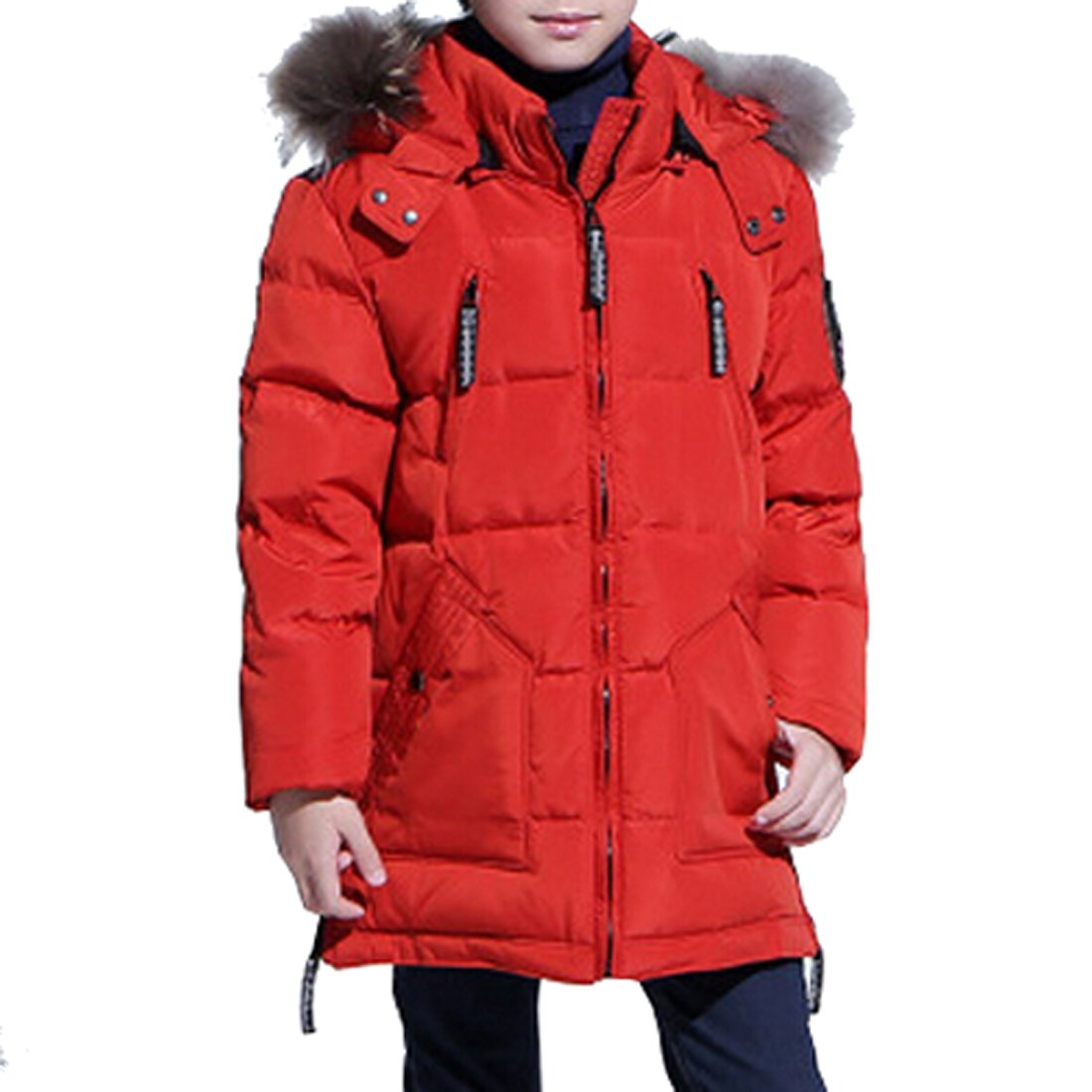 Shengdilu Big Boys' Down Puffer Jacket Parka Fox Fur Outwear Outfit Long Coat Kids Winter Clothes 4T 5T Red