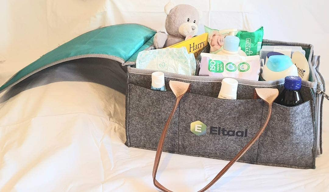 car, Outdoor Nursery Eltaal Baby Diaper Caddy Organizer Portable with Water Resistant Dust Cover and Changeable Compartments