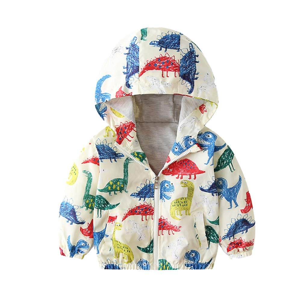 Little Kids Autumn Coat,Jchen(TM) Children Baby Kids Little Boy Girl Cartoon Coat Jacket Outerwear Excavator Dinosaur Hooded Windbreaker for 1-5 Y (Age: 3-4 Years Old, Animal)