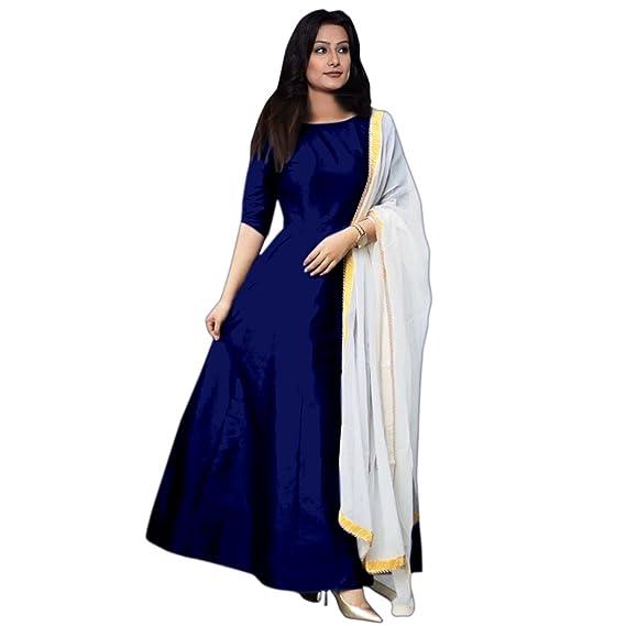 aa0e091eb7 HK Fashion Women's Silk Salwar Suit Material (Neavy blue): Amazon.in ...