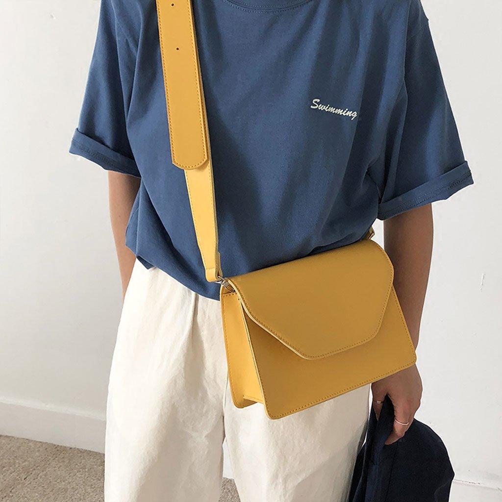 Einfache Normallack PU-beiläufige breite Schultergurt-Schulter-Beutel-Quadrat-Kurier-Beutel-Handtasche für pendelnde Arbeit Arbeit Arbeit (Farbe   Gelb) B07FRTLG6P Umhngetaschen Fett und dünn c2378e