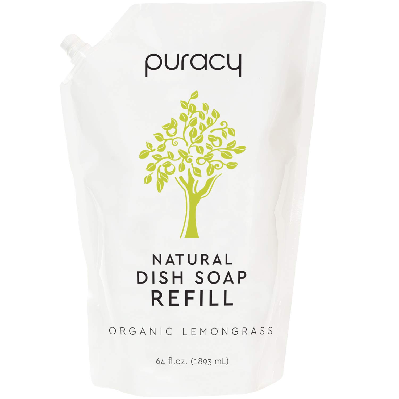 Puracy Natural Dish Soap Refill, Organic Lemongrass, 64 Ounce, Skin-Friendly Liquid Detergent