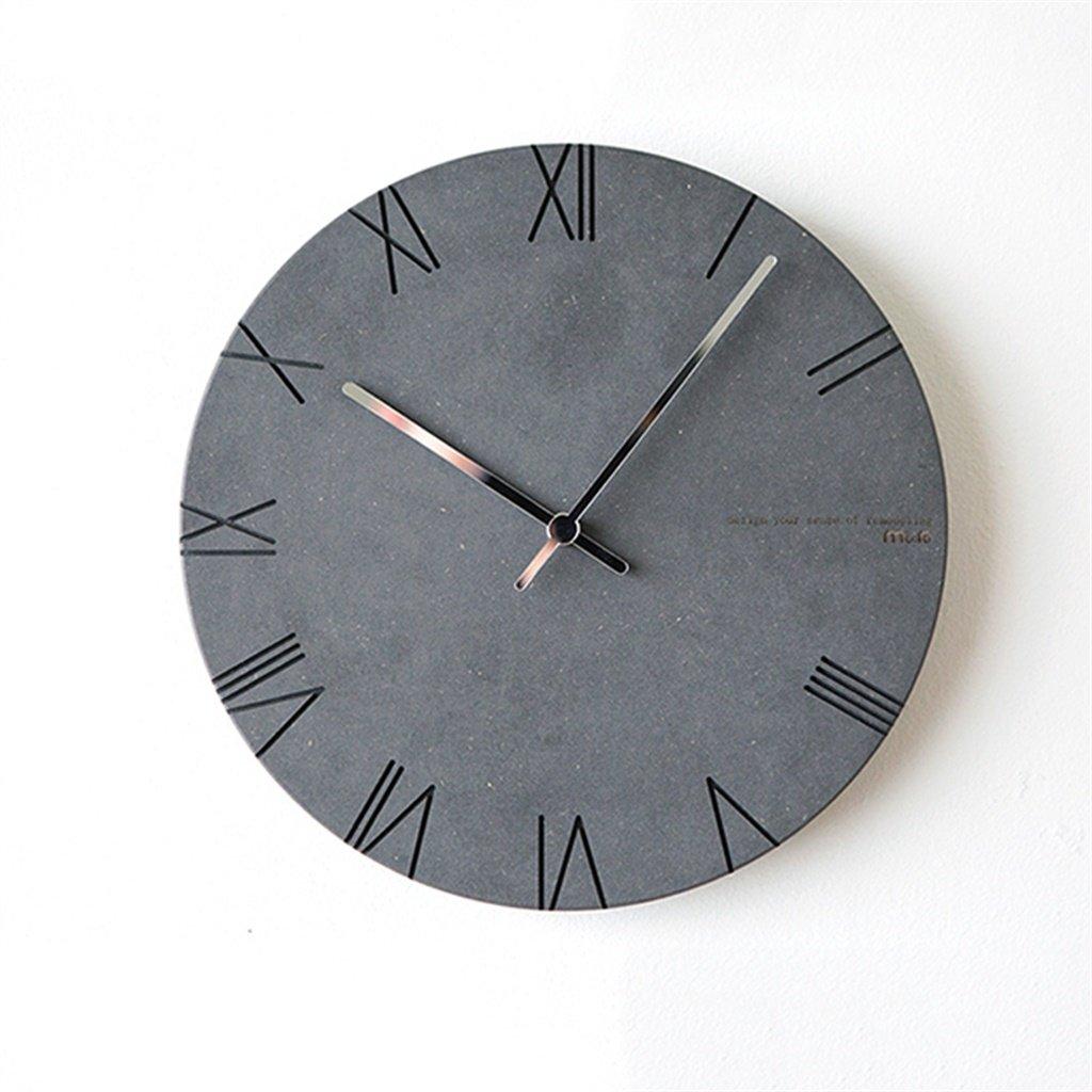 YFF-壁時計 ノルディッククリエイティブウォールクロックモダンミニマリストパーソナリティファッションローマ数字クォーツ時計リビングルームベッドルームスタジオミュート壁掛け時計12インチ(ブラック) B07CLFDPC6