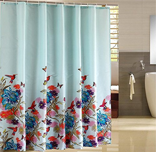 Dodou 72 X 72 Inch Butterfly Garden Theme Bathroom Decor Shower Curtain Waterproof Fabric Polyester Set with Hooks