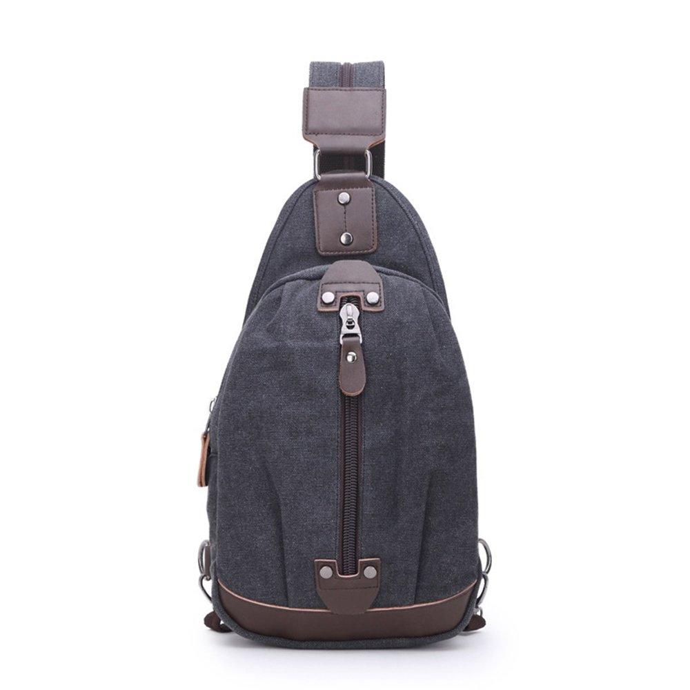 Sling Chest Bag Leparvi Backpack Purse Canvas Fashion Rucksack Unbalance One Strap Cross body Messenger Bag Balance Teen Satchel(Black-2)