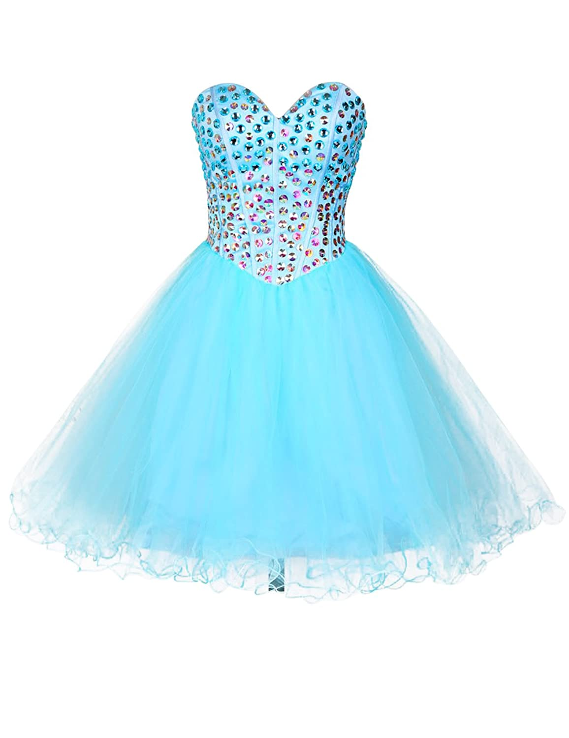 Dresstells@ Short Homecoming Dress Tulle Sweetheart Prom Dress with Beadings
