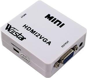 Mini HDMI to VGA Converter 1080P Audio Video Signal Output HDMI2VGA Converter for PS3 XBOX360 Blu-ray DVD Set-top Boxes PC Laptop to HDTV Projector White