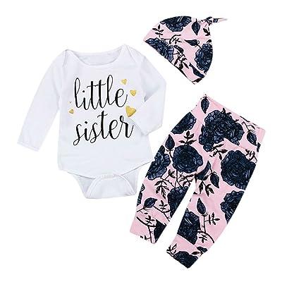 f024017ce AliveGOT 3 Pcs Fashion Newborn Infant Unisex Baby Letter Print Romper+Rose  Print Pants Set