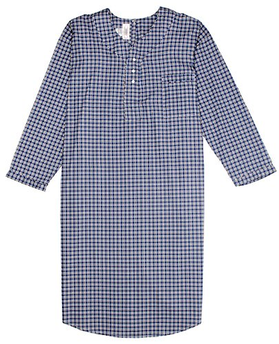 Men's Comfortable Cotton/Poly Back Snap Nightshirt Gown Long Sleeve Size XL - Blue & Brown Plaids