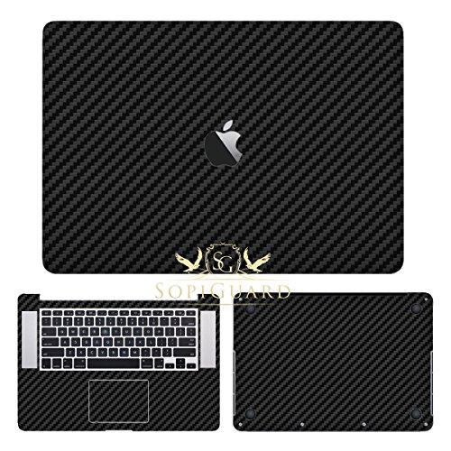 SopiGuard Black Carbon Fiber Precision Edge-to-Edge Coverage Vinyl Sticker Skin for Apple Macbook Pro 15 Retina (A1398)