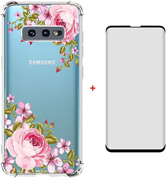 Compatible for Galaxy S10E Case Slim Silicone Cover Flexible Rubber Crystal Clear Floral Bumper Flowers Protective Cases