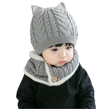 ecbb020962976 Amazon.co.jp: Ainial ニット帽子 ネックウォーマー 2点セット 子供 ...
